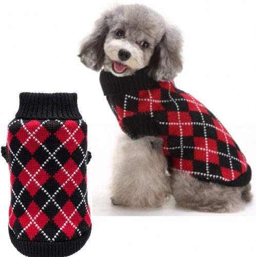 KOOLTAIL Crochet Dog Argyle Sweater