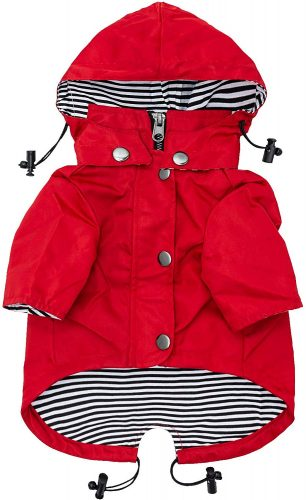 Ellie Dog Wear Red Zip Up Dog Raincoat