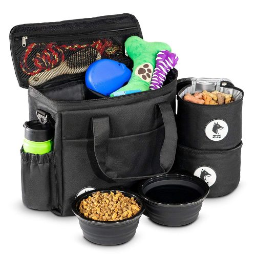 Top Dog Travel Bag-Airline Approved Travel Set for Dogs Stores All Your Dog Accessories- Includes Travel Bag 2X Food Storage Containers