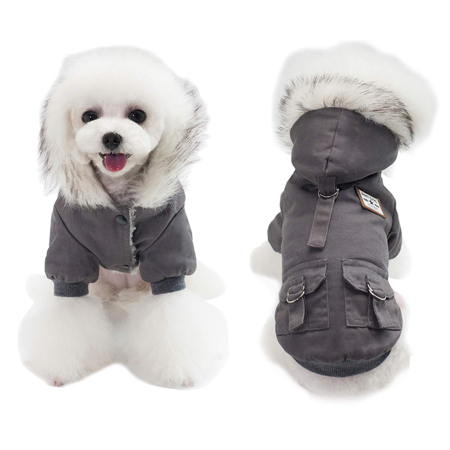 AprilWu Warm Dog Hooded Trench Coat