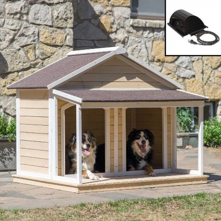 Groomer HEATED Fir Wood Duplex Dog House for Two Dogs