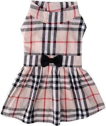 CHOLOGIFT Classic Plaid Dog Dress Cute Puppy Clothes Outfit | Girl Dog Clothes