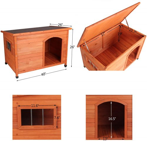 ROCKEVER Wood Dog Houses Outdoor Insulated - heated dog houses