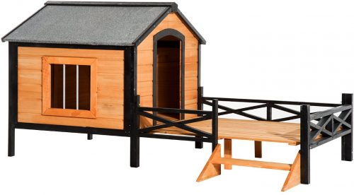 """PawHut 67"""" Large Wooden Cabin Style Elevated Outdoor Dog - heated dog houses"""