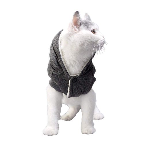 Domkim Soft Winter Padded Dog Coat and Hat Cat Hoodies