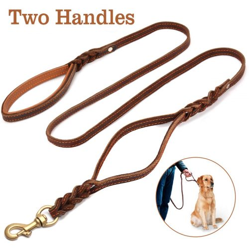 FOCUSPET Heavy Duty Leather Dog Leash