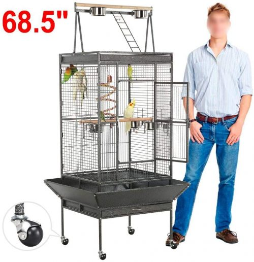 Yaheetech 69-inch Wrought Iron Rolling Large Parrot Bird Cage