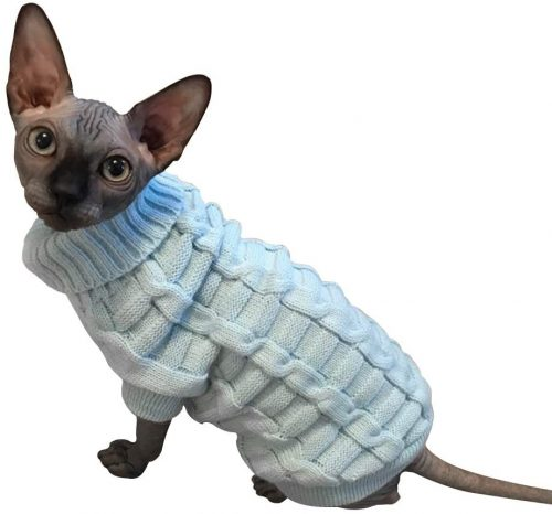 LUCKSTAR Cable Knit Turtleneck Sweater- Sphynx cat sweaters