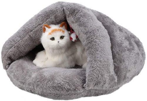 Hffheer Pet Kitty Tent Plush+PP Cotton Dogs Tent Bed