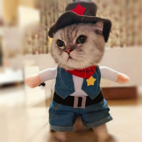 Delifur Cowboy Pet Costume with Hat Dog - Funny Cat Costume