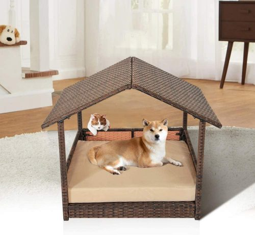 Leaptime Pet Playpens Brown PE Wicker - Wicker Dog Bed
