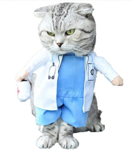 Mikayoo Pet Dog Cat Halloween Costume Doctor - Funny Cat Costume