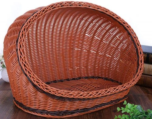HUAHOO Pet Rattan Bed Four Seasons Comfortable - Wicker Dog Bed