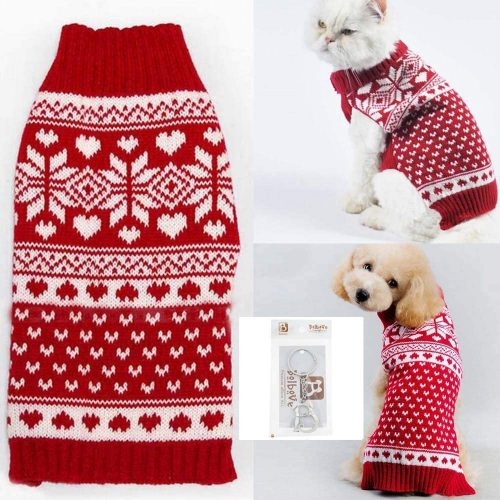 8.Bolbove Pet Red Snowflake Turtleneck Sweater