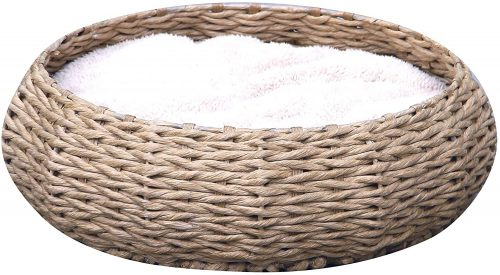 PetPals Hand Made Paper Rope Round Bed - Wicker Dog Bed