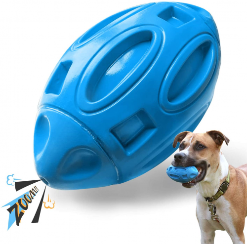 EASTBLUE Squeaky Dog Toys for Aggressive Chewers - Indestructible Dog Ball