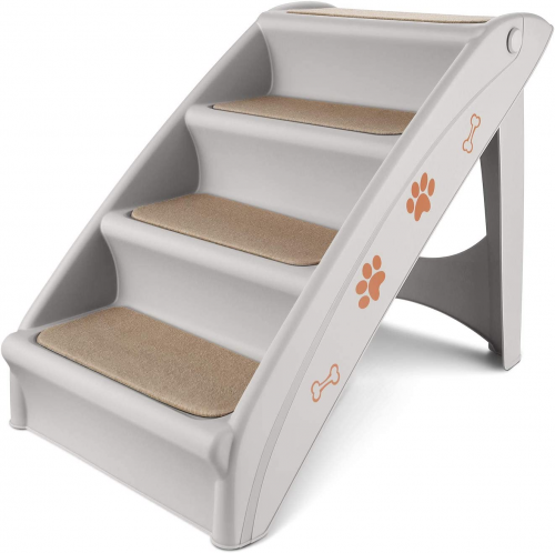 Flexzion Pet Stairs, Folding Plastic Ladders Step Ramp for Dog | Dog ramp for truck