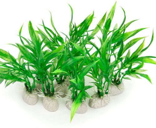 COMSUN 10 Pack Artificial Aquarium Plants | aquarium carpet plants