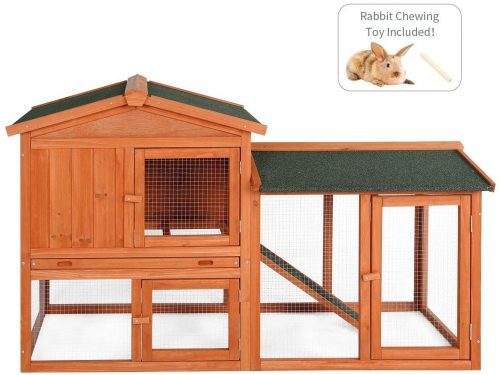 Esright Rabbit Hutch 54.3'' Rabbit Cage Outdoor - Outdoor Rabbit Cages