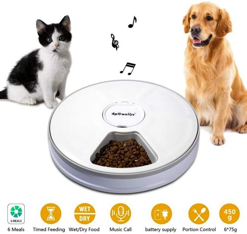 4pawslife 6 Meal Automatic Pet Feeder Food Dispenser | Wet Cat Food Dispenser