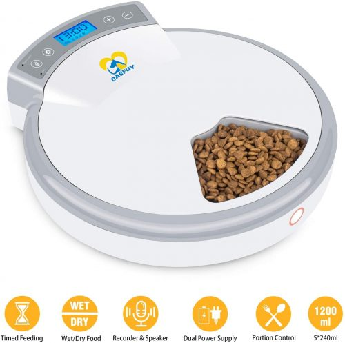 Casfuy 5-meals Automatic Cat Feeder | Wet Cat Food Dispenser