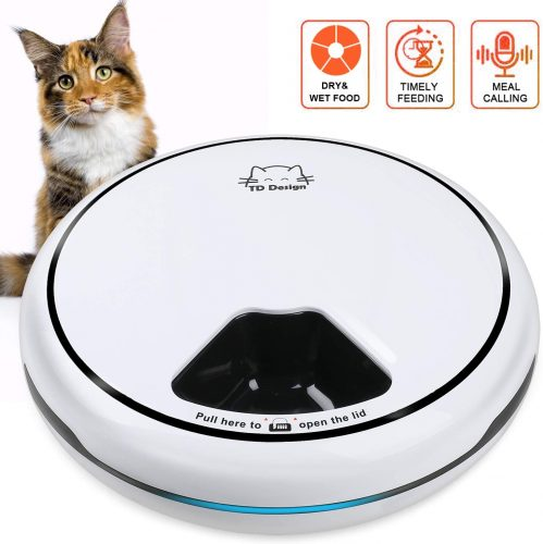 TDYNASTY DESIGN 5 Meal Automatic Cat Feeder | Wet Cat Food Dispenser