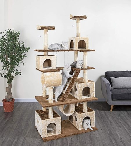 Go Pet Club 87.5-Inch Tree with Ladders | Pet Club Cat Trees