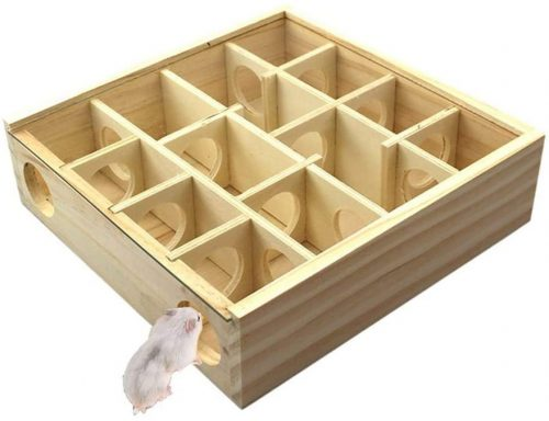 Hamster Wooden Maze Tunnel with Plexiglass Cover