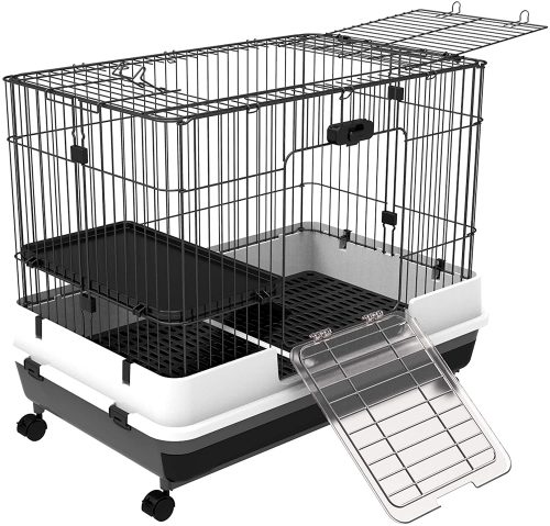 PawHut Indoor Small Animal Habitat Cage with Wheels | large rabbit cages