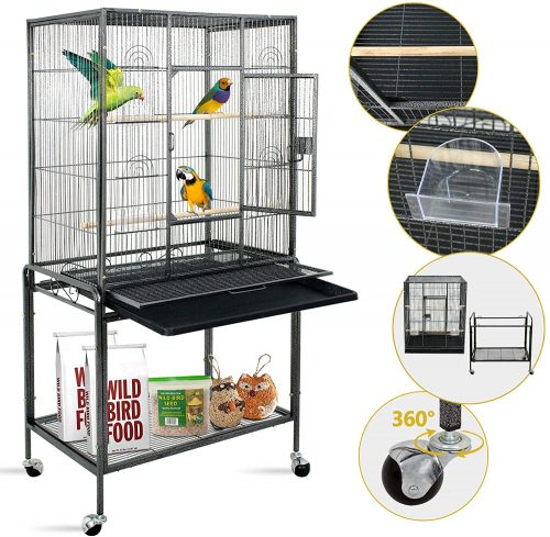 SUPER DEAL 53''/59.3''/63.5'' Rolling Bird Cage Large | Parakeet cages
