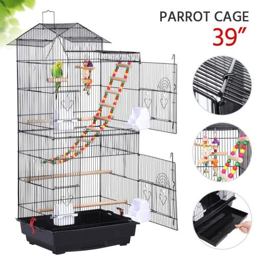 YAHEETECH 39-inch Roof Top Large Flight Parrot Bird  | Stainless Steel Bird Cage
