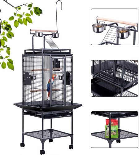 VIVOHOME 72 Inch Wrought Iron Large Bird Cage  | Stainless Steel Bird Cage