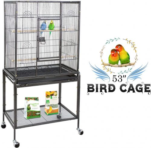 ZENY Bird Cage with Stand Wrought Iron Construction | Stainless Steel Bird Cage