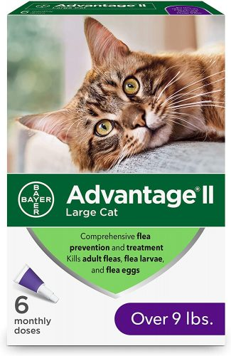 Advantage II 6-Dose Large Cat Flea Prevention | Flea & Worm Treatment For Cats