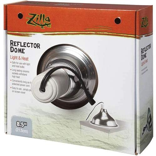 Zilla 11931 Silver Reflector Dome with 150-Watt Bulbs  | Dome Lamp Fixtures