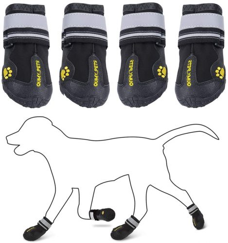 QUMY Dog Shoes for Medium Large Breed Dogs| Non Slip Booties For Dogs