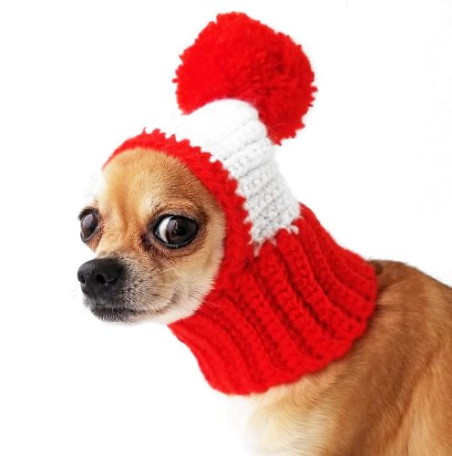 Crocheted Snood For Dogs Red Dog Hat | Winter hats for dogs
