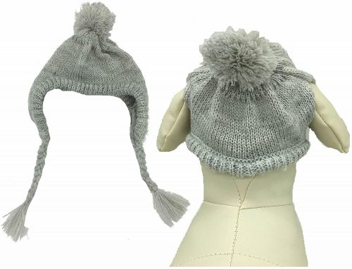 Lanyar Grey Knit Dog Hats Accessory for Dogs | Winter hats for dogs