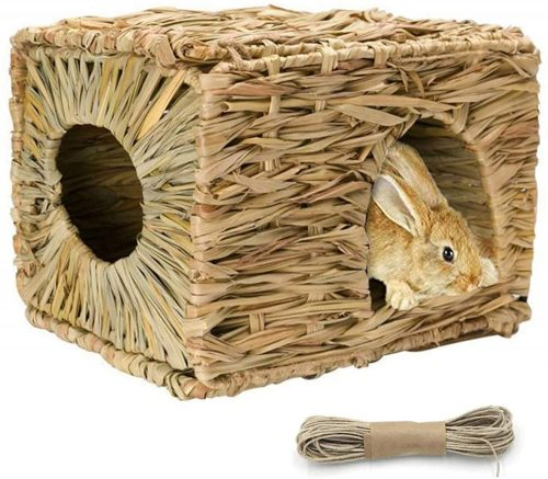 Tfwadmx Rabbit Grass House - Natural Hand Woven Seagrass Play Hay Bed, | Rabbit Shelters