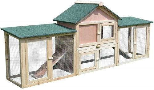 "PawHut 83""L 2-Story XL Wooden Deluxe Rabbit Bunny House Outdoor Hutch Pet Cage 