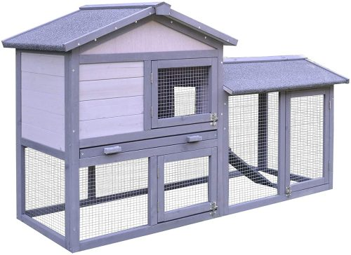 PawHut Large Outdoor Raised Painted Deluxe Wood Rabbit Hutch Bunny Outdoor Animal Cage Enclosure with Run | Rabbit Shelters